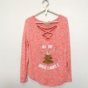 Christmas 'All the Jingle Ladies' Lace Up Top NWT